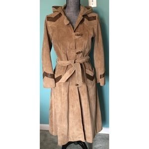 Vintage 70s Leather Trench Coat Suede Hood Belt